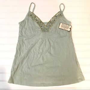 NWT Tank with cute beading, Size L